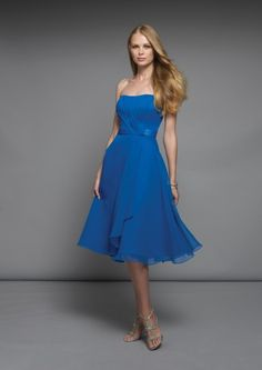 2012 Blue Strapless Chiffon Satin Beach Bridesmaid Dresses (B2012BD-006) at zaradress.com