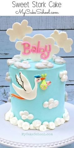 Baby Shower Cake- Member Video Tutorial Adorable Stork Themed Baby Shower Cake Tutorial by ! (Member Cake Decorating Video Section) via Stork Themed Baby Shower Cake Tutorial by ! (Member Cake Decorating Video Section) via Torta Baby Shower, Baby Shower Pasta, Shower Baby, Baby Shower Cupcakes For Girls, Baby Shower Themes, Cakes For Baby Showers, Easy Baby Shower Cakes, Baby Shower Cake Designs, Baby Shower Cake Decorations