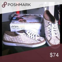 AUTHENTIC Coach Canvas Tennis Shows Gorgeous, not seen very often, Coach Sneakers. Beautiful canvas w/logo rarely seen! If I didn't tell you, you'd hardly know I ever had these shoes on! Coach Shoes Sneakers