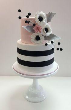Custom fondant bridal shower cake with sugar flowers Fondant Flower Cake, Fondant Cakes, Cupcake Cakes, Pretty Cakes, Beautiful Cakes, Amazing Cakes, 40th Birthday Cakes, Birthday Cakes For Women, Happy Anniversary Cakes