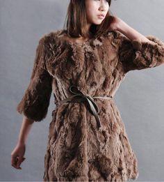 Genuine Laddies' rabbit fur coat