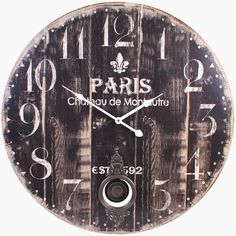 LARGE SHABBY CHIC RUSTIC LOOK PARIS WALL CLOCK - BLACK WITH WOODEN PANEL EFFECT