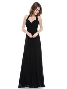 Ever Pretty Elegant Halter Ruched Bust Floor Length Evening Dress - Ever-Pretty US