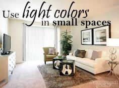 Plus Other Ways to Make a Small Space Feel Bigger http://www.apartmentguide.com/blog/top-five-ways-to-decorate-a-small-living-room/