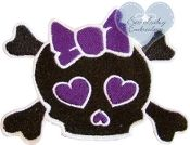 Skull with Bow Embroidered Applique Patch