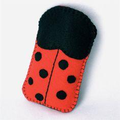 Felt LadybugCell Phone Case. $12.00, via Etsy.