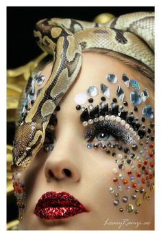 Gorgeous fantasy makeup with pearls, jewels and a snake (oh, my!). Photographer: Loaiy Ramz / MUA: Ania Poniatowska.