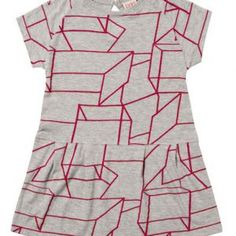 Baobab – Pink Geo Baby Dress Short sleeve, baby girls A-line dress with cross-over top section, made from super soft 100% organic cotton knit fabric with colour matched neck and cuff binds.  Available in 'pink geo print' fabric exclusively designed for Baobab.