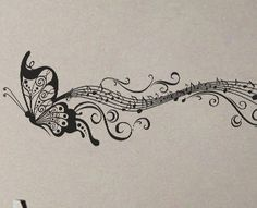 Butterfly Music Notes  Wall Decal Vinyl Decor Art by UberDecals, $24.97