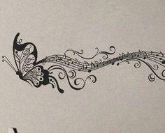 Butterfly Music Notes - Wall Decal Vinyl Decor Art Modern Removable Sticker Mural uBer Decals A598