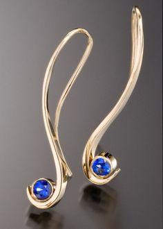 Grace earrings with blue sapphire by Adam Neeley