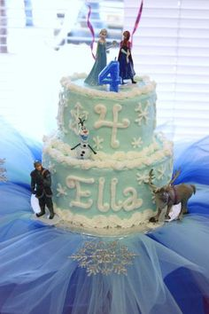 Simple frozen cake idea- could add rock candy to top for the ice castle