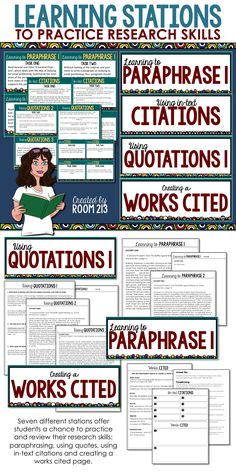 Check it out! This engaging activity for teaching research skills will help your students master paraphrasing, embedding quotations, citing and creating a works cited page.