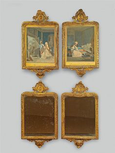 A set of four Neoclassical gilt softwood frames