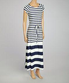 Look at this #zulilyfind! Navy & White Stripe Cap-Sleeve Maxi Dress by AA Studio #zulilyfinds