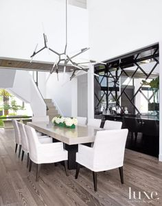 Modern Dining Room with Black Lacquered Bar - Luxe Interiors + Design Decoration Inspiration, Dining Room Inspiration, Decor Ideas, Style Inspiration, Luxury Dining Room, Dining Room Design, Dining Rooms, Dining Tables, Dining Set