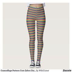 Camouflage Pattern Cute Zebra Unique Cool Stylish Leggings