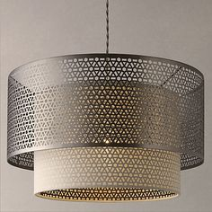 John Lewis & Partners Meena Fretwork Steel Ceiling Light Meena Fretwork Steel Pendant Light with linen shade. H Drop adjustable hallway lighting Lounge Lighting, Hall Lighting, Dining Lighting, Bedroom Lighting, Lighting Ideas, Blue Lounge, Beach Lounge, Tiki Lounge, Lounge Decor