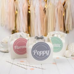 PERSONALISED CHILDRENS PARTY BOXES PERFECT FOR WEDDINGS & BIRTHDAY PARTIES THESE BOXES ARE AVAILABLE IN A CHOICE OF COLOURS & COME FULLY PERSONALISED WITH A PRETTY BOW TO SET IT OFF! ----------------------------------------------------------------------------------------------- DETAILS