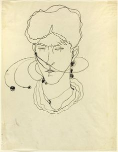 Jean Cocteau (French, 1889-1963)  Self-Portrait, 1909 - Pen and black ink, on ivory wove tracing paper,  269 x 209 mm