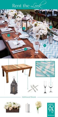Recreate this relaxed outdoor look with a rustic wood table,  candlelight lanterns and a pop of chevron teal.  Inspired by SMP Weddings, Images : Romantic Wine Country Wedding.  1) Recycled Wood Dining Table 2) Moroccan Inspired Lanterns  3) Sheraton Oneida Cutlery 4) Teal Chevron Linens 5) Glassware