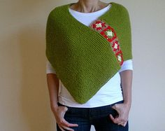 Women Poncho with Afghan Motifs in Green Hand Knitted Spring Poncho Mothers Day Gift