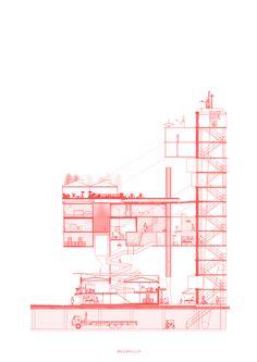Correcciones Tipológicas: conoce los 12 proyectos del workshop de Juan Herreros en Chile,E4 – Universidad Central / Lámina 02. Image Cortesía de Facultad de Arquitectura USS