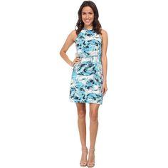 Calvin Klein Jeans Printed Drawcord Halter Dress Women's Dress, Blue (97 BAM) ❤ liked on Polyvore featuring dresses, blue, straight dress, pattern dress, print dress, halter neck dress and viscose dress