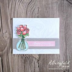 RBergfeld Card Designs: Freshly Made Sketches Entry - Clearly Besotted, Delightful Day - My Favorite Things, Marble Background - Lil Inkers, Stitched Woodgrain - Ellen Hutson, Lovely
