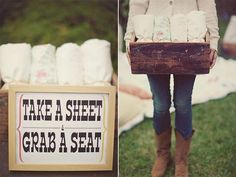 Picnic Wedding Seating - Change the font on the sign, and select an elegant frame, and you've got an Elegant Picnic Wedding Theme.