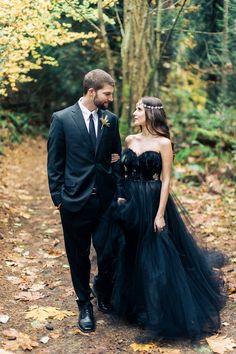 Woodland Nymph in a Black Wedding Dress