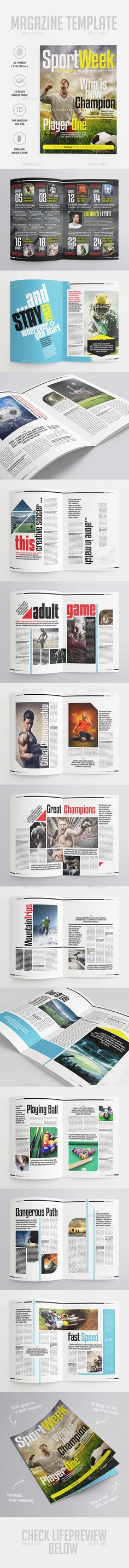 Sport Magazine — InDesign INDD #football #template • Available here → https://graphicriver.net/item/sport-magazine/10063768?ref=pxcr