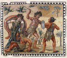 Mosaico con lotta tra Dioniso e gli indiani, prima metà IV sec. d.C., Museo Nazionale Romano, Palazzo Massimo