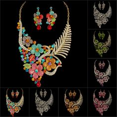 WHOLESALE STYLISH CRYSTAL RHINESTONE HOT SALES NECKLACE EARRINGS BALL EARRINGS NECKLACE GIFT SET