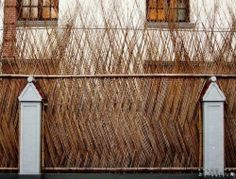 Bamboo fence in Shanghai City Fence Design, Garden Design, Fence Screening, Bamboo Architecture, Bamboo Weaving, Bamboo Crafts, Bamboo Fence, Fence Gate, Fences