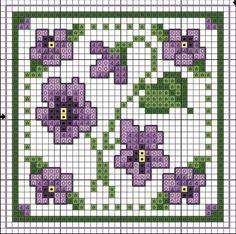 free cross stitch violets biscornu chart ... no color chart available, just use pattern chart as your color guide.. or choose your own colors...