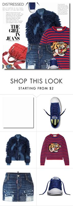 """""""True Blue"""" by bynoor ❤ liked on Polyvore featuring Converse, 3.1 Phillip Lim, Gucci, Dsquared2 and distresseddenim"""