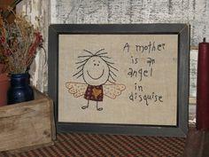Primitive Embroidery Angel Stitchery by MockaMooseMarket on Etsy, $12.00