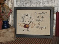 Primitive Embroidery Angel Stitchery by MockaMooseMarket on Etsy, $12.00