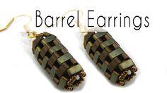 Beading - Barrel Earrings with Half Tila