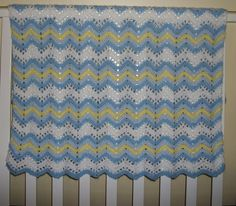 Crochet Striped Ripple Blanket ... Baby boy ... baby shower ...  Blue, White and Yellow chevron ... READY TO SHIP. $25.00, via Etsy.