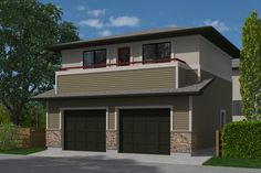 The Prairie Bradford-572 plan is a garage studio/laneway home witha2 car garage at grade level and living space on the second floor. This prairieplan features:  Double car parking with two 9'wide overhead doors Mechanical room on garage level Interior stair to second floor Open concept living space Balcony off living space 1 bedroom, 1 bath Stacking washer/dryer