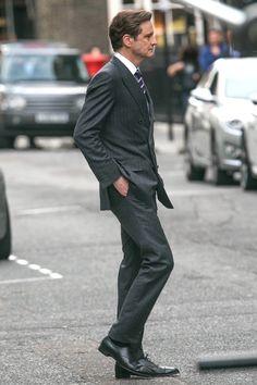 L'acteur Colin Firth sur le tournage de son nouveau film