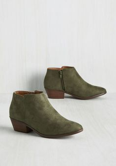 Minimal Ritual Block Heel Bootie in Moss. If your daily agenda includes crafting simple-yet-sophisticated outfits, then these faux-suede booties a perfect fit for your wardrobe! #green #modcloth