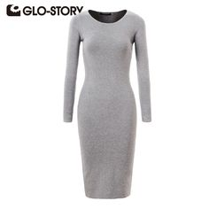 301282f154104a GLO STORY Women Sweater Dress 2017 Elegant Chic Long Sleeve Knit Dress Sexy  Party Bodycon Sweater Dresses WMY 2616-in Dresses from Women s Clothing ...