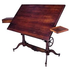 Exceptional Antique Cast Iron Adjustable Drafting Table | From a unique collection of antique and modern desks and writing tables at http://www.1stdibs.com/furniture/tables/desks-writing-tables/
