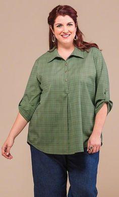 79fc862166f PLAID HENLEY TUNIC Stylish Plus Size Clothing