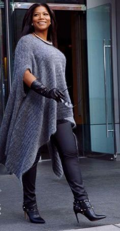 Latifah in Valentino booties, Escada Leather pants, Acne Studios cape, Lord&Taylor gloves  She looks beautiful!