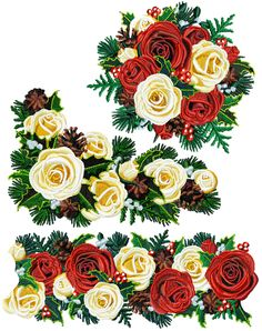 """Christmas Roses Set for 5""""x7"""""""