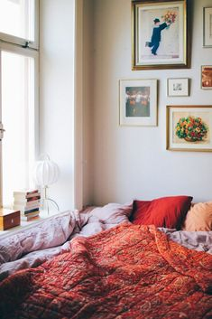 Such a gorgeous bedroom! Love the red quilt! Such a gorgeous bedroom! Love the red quilt! Such a gorgeous bedroom! Love the red quilt! Such a gorgeous bedroom! Love the red quilt! Cozy Bedroom, Bedroom Inspo, Bedroom Decor, Bedroom Red, Bedroom Inspiration, Bedroom Ideas, Interior Desing, Home Interior, Apartment Interior